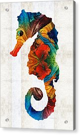 Colorful Seahorse Art By Sharon Cummings Acrylic Print by Sharon Cummings