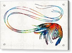 Colorful Shrimp Art By Sharon Cummings Acrylic Print by Sharon Cummings