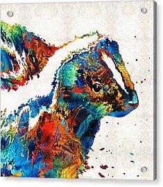 Colorful Skunk Art - Dee Stinktive - By Sharon Cummings Acrylic Print by Sharon Cummings