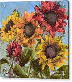 Colorful Sunflowers Acrylic Print by Vic  Mastis