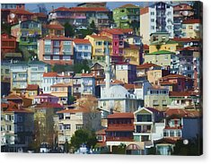 Colorful Town Acrylic Print by Joan Carroll