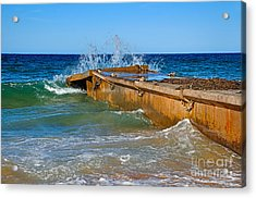 Colorful Waves Around Old Pier Acrylic Print by Kaye Menner