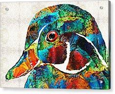 Colorful Wood Duck Art By Sharon Cummings Acrylic Print by Sharon Cummings