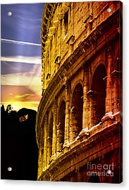 Colosseum Sunset Acrylic Print by Stefano Senise