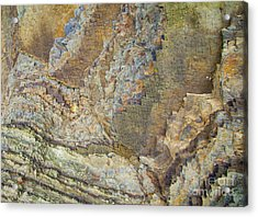 Colour Jagged Rock Acrylic Print by Graham Foulkes