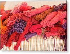 Coloured Yarn Acrylic Print by Jim West