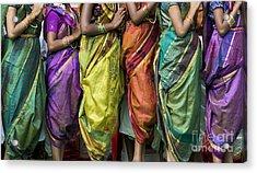 Colourful Sari Pattern Acrylic Print by Tim Gainey