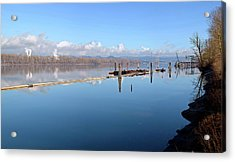 Columbia River Dredging Work Docks Acrylic Print by Panoramic Images