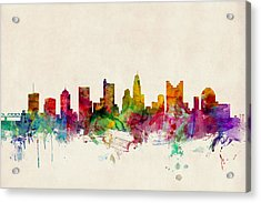 Columbus Ohio Skyline Acrylic Print by Michael Tompsett