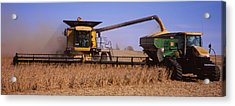 Combine Harvesting Soybeans In A Field Acrylic Print by Panoramic Images