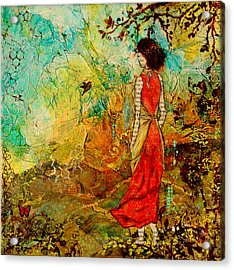Come Back Home To You Inspiring Folk Art Painting Acrylic Print by Janelle Nichol