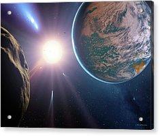 Comet Approaching Earth-like Planet Acrylic Print by Detlev Van Ravenswaay