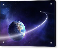 Comet Moving Past Planet Earth Acrylic Print by Johan Swanepoel