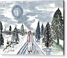 Snow Scenes In Watercolors Acrylic Print featuring the painting Coming Home by Connie Valasco