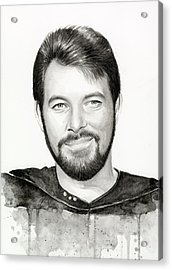 Commander William Riker Star Trek Acrylic Print by Olga Shvartsur