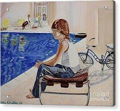 Community Pool Acrylic Print by Debra Chmelina