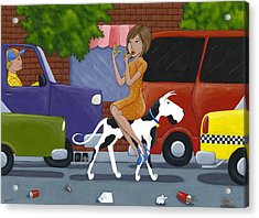 Commuting Acrylic Print by Christy Beckwith