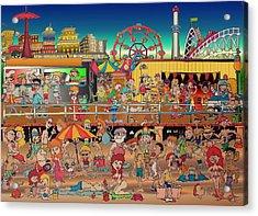 Coney Island Boardwalk Acrylic Print by Paul Calabrese