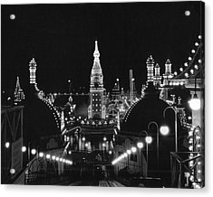 Coney Island - Nighttime Roller Coaster Acrylic Print by MMG Archives
