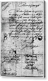 Congressional Document, 1776 Acrylic Print by Granger