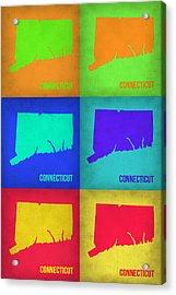 Connecticut Pop Art Map 1 Acrylic Print by Naxart Studio