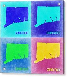Connecticut Pop Art Map 2 Acrylic Print by Naxart Studio
