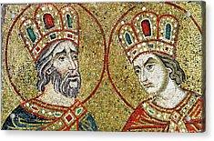 Constantine The Great 270-337 And St. Helena Mosaic Acrylic Print by Veneto-Byzantine School