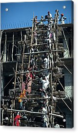 Construction Site In India Acrylic Print by Carl Purcell