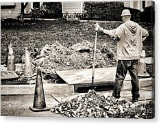 Construction Worker Acrylic Print by Olivier Le Queinec
