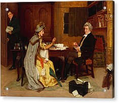 Consulting Her Lawyer Acrylic Print by Frank  Dadd