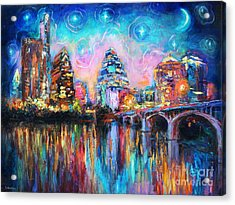 Contemporary Downtown Austin Art Painting Night Skyline Cityscape Painting Texas Acrylic Print by Svetlana Novikova