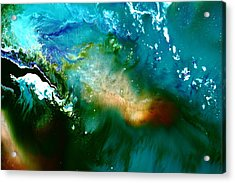 Contemporary Fluid Abstract Art Underwater Soundwaves Acrylic Print by Serg Wiaderny