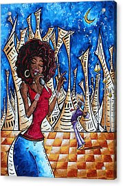 Contemporary New Orleans Jazz Blues Original Painting Singin In The Streets Acrylic Print by Megan Duncanson