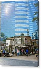 Contrasting Buildings In Mumbai Acrylic Print by Mark Williamson