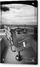 Controls On The Flybridge Deck Of A Charter Fishing Boat In The Gulf Of Mexico Acrylic Print by Joe Fox