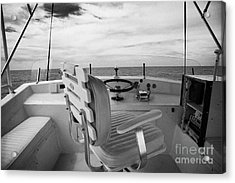 Controls On The Flybridge Deck Of A Charter Fishing Boat In The Gulf Of Mexico Out Of Key West Acrylic Print by Joe Fox