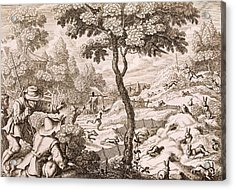 Cony Catching, Engraved By Wenceslaus Acrylic Print by Francis Barlow