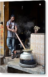 Cooking Breakfast Early Morning Lahore Pakistan Acrylic Print by Imran Ahmed