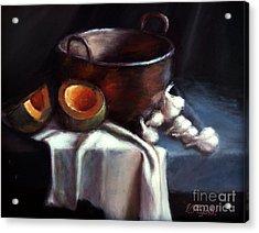 Copper Pot And Cantalpes Acrylic Print by Viktoria K Majestic