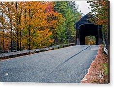 Corbin Covered Bridge New Hampshire Acrylic Print by Edward Fielding