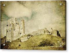 Corfe Castle - Dorset - England - Vintage Effect Acrylic Print by Natalie Kinnear