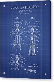 Cork Extractor Patent From 1930- Blueprint Acrylic Print by Aged Pixel