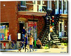 Corner Laurier Marche Maboule Depanneur Summer Stroll With Baby Carriage Montreal Street Scene Acrylic Print by Carole Spandau