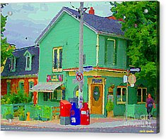 Corner Stores Toronto Street Scene Paintings Park Snacks Piggys Brunch And Ice Cream Shop Cspandau  Acrylic Print by Carole Spandau
