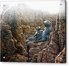 Corona Del Mar Seals Statue Acrylic Print by Gregory Dyer