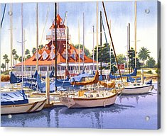 Coronado Boathouse Acrylic Print by Mary Helmreich