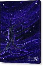 Cosmic Tree Blue Acrylic Print by First Star Art