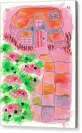 Cottage Et Jardin / Cottage And Garden Acrylic Print by Dominique Fortier