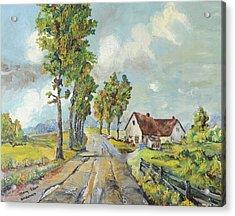 Cottage On Poplar Lane Acrylic Print by Mary Ellen Anderson