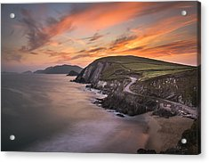 Coumeenole Sunset Acrylic Print by Florian Walsh